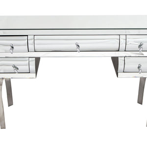 Curved Mirrored 5 Drawer Dressing Table-Mirrored Furniture-Chic Concept
