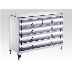 Curved Mirrored 3+2 Drawer Chest-Mirrored Furniture-Chic Concept