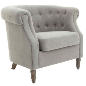 Lisette Grey Linen Upholstered Armchair-Occasional Chair-Chic Concept