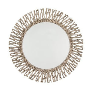 Adel Round Champagne Silver Leaf Wall Mirror-Round Mirror-Chic Concept