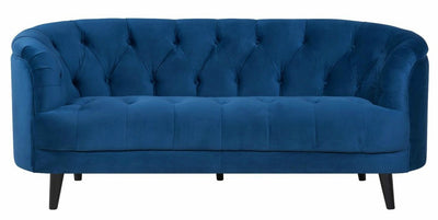 Seattle Blue Velvet Chesterfield Love Seat-Fabric Sofa-Chic Concept