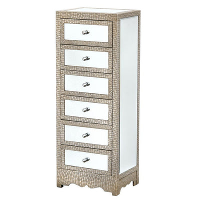 Mirrored Moc Croc Tall Boy Chest of 6 Drawers-Mirrored Furniture-Chic Concept