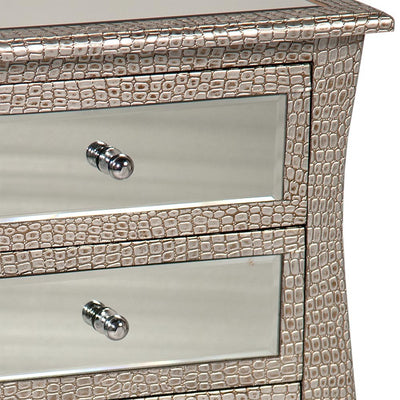 Mirrored Moc Croc Curvy Chest of Four Drawers-Mirrored Furniture-Chic Concept