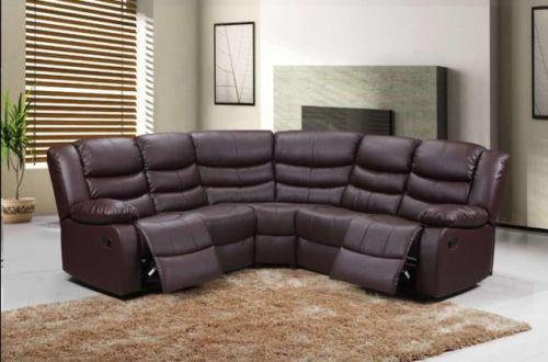 new product 342f2 c65a3 Modern Roma Corner Brown Leather Recliner Sofa with Drink Holder