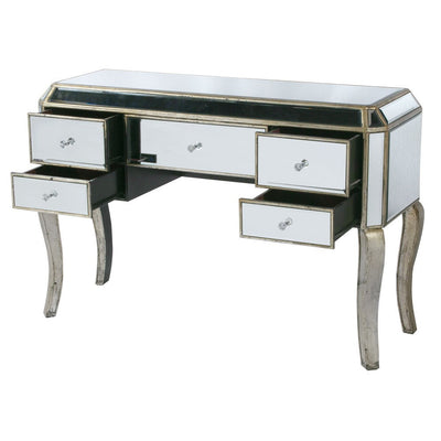 Vintage Venezia Antique Silver Desk Dressing Table-Dressing Table-Chic Concept