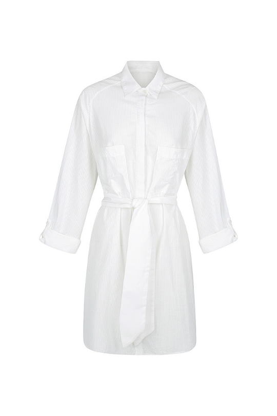 Pam Pam Oversized White Shirt Dress With Belt