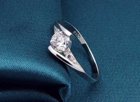 Crystal Silver Plated CZ Diamond Ring