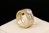 Diamond Paved Engagement Sets Rose Gold Plated Ring
