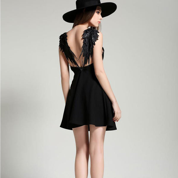 Back Wings Backless Dress