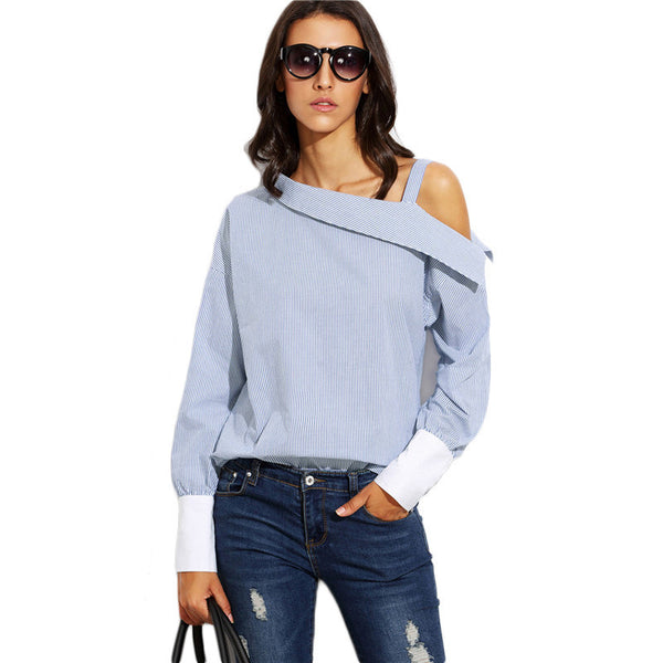 Blouses - Asymmetric Shoulder Blouse