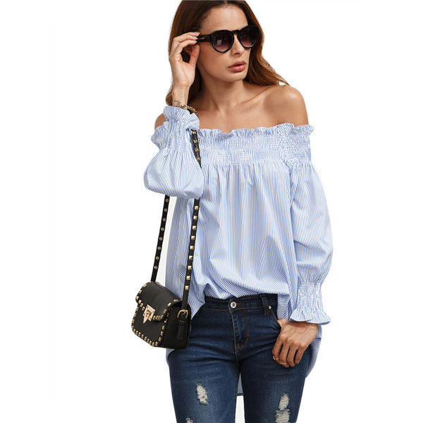 Blouses - Blue Loose Long Sleeve Blouse