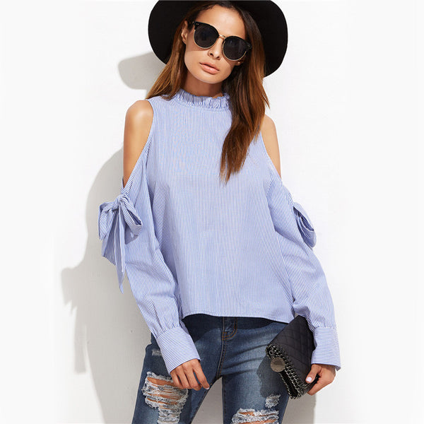 Blouses - Blue Vertical Striped Ruffle Blouse