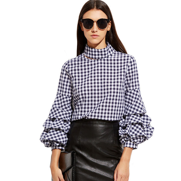 Blouses - High Neck Ruffle Blouse