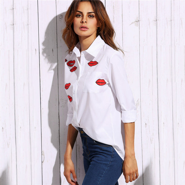 Blouses - Red Lips Print Blouse