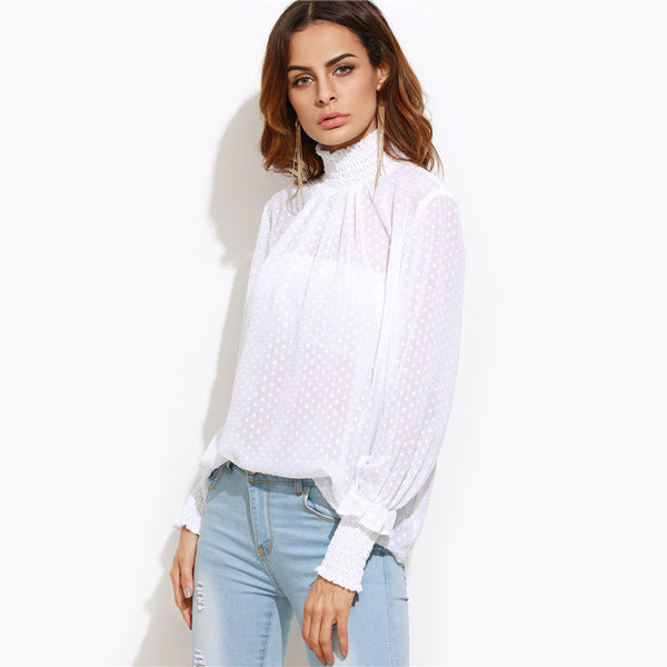 Blouses - White Sheer Dotted High Neck Blouse