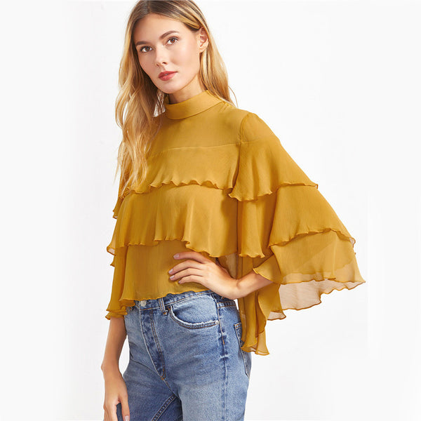 Blouses - Yellow Layered Ruffle Blouse