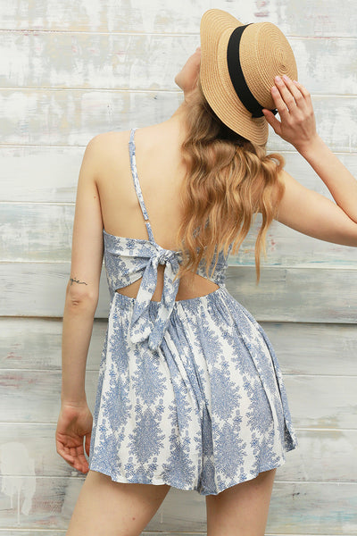 Dresses - Blue Floral Jumpsuit