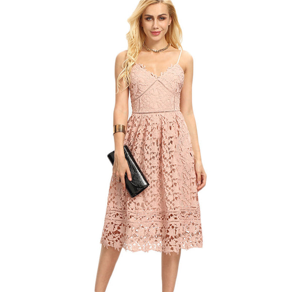 Dresses - Lace Dress Spaghetti Strap