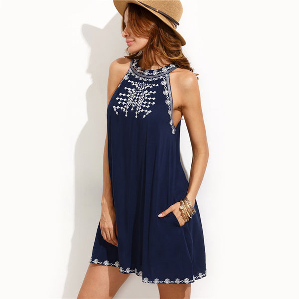 Dresses - Navy Embroidered Dress