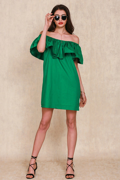 Dresses - Ruffles Slash Neck Dress