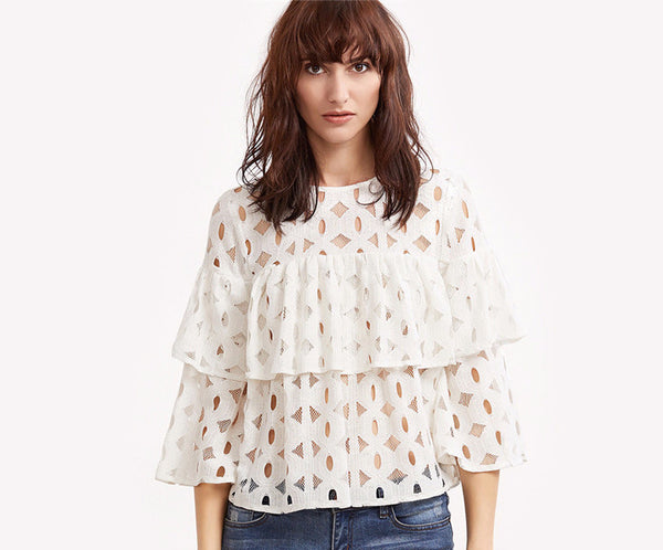 White Hollow Out Ruffle Lace Top
