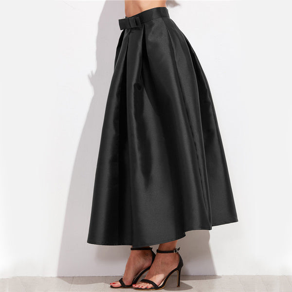 Skirts - Black Bow Trim Pleated Long Skirt