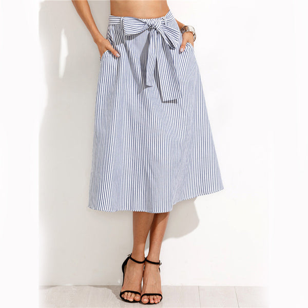 Skirts - Blue And White Vertical Striped Skirt W/ Pockets