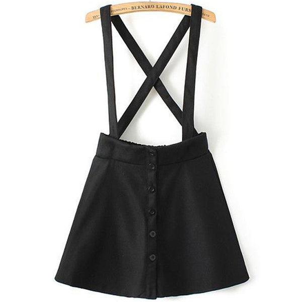 Skirts - Cross Back Strap Skirt With Suspenders