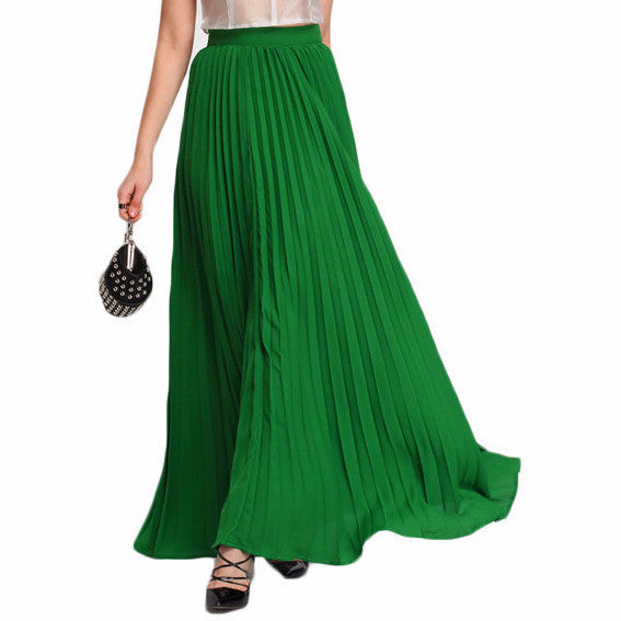Skirts - Green High Waist Maxi Skirt