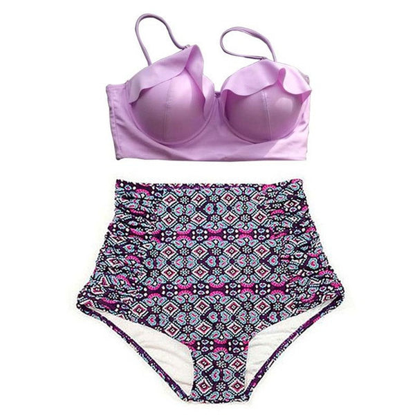 Swimwear - Bikini Set Vintage Retro High Waist
