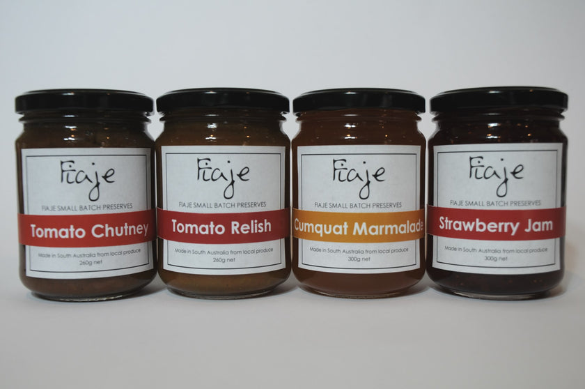 Mixed Bag Gift Pack - Tomato Chutney, Tomato Relish, Cumquat Marmalade, Strawberry Jam