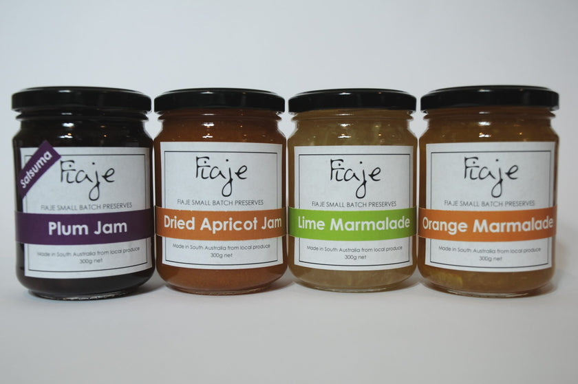 Jam Gift Pack - Plum Jam, Dried Apricot Jam, Lime Marmalade, Orange Marmalade