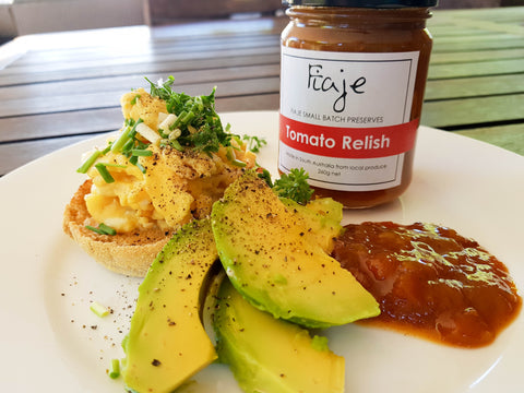 Scrambled Eggs - Avo - Tomato Relish