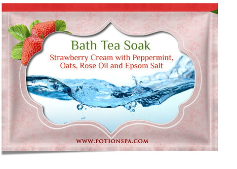 Strawberry Cream with Peppermint Bath Tea Soak