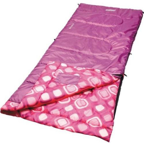 Coleman Girls Youth Rectangle Sleeping Bag Pink-White Dots