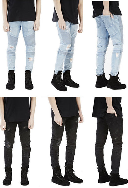 Blue Black Ripped Biker Jeans