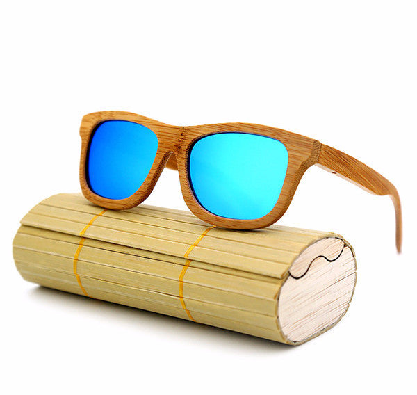 Teal Bamboo Sunglasses
