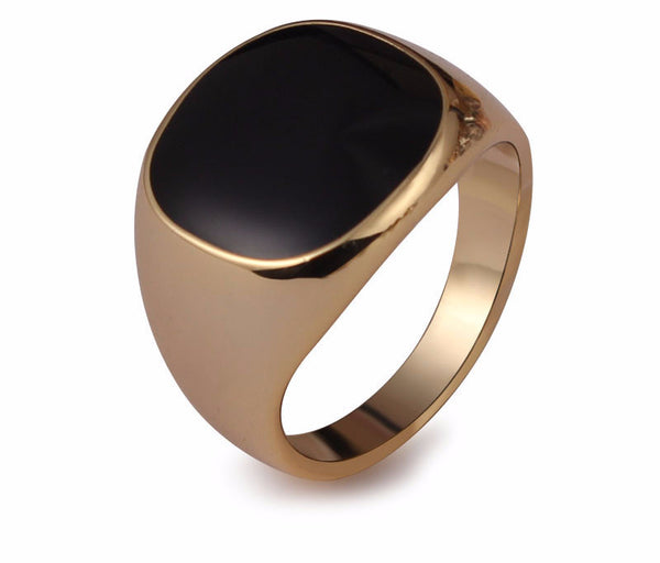 18K Gold Plated Onyx Ring