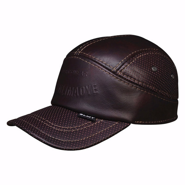 Brown Leather Cap