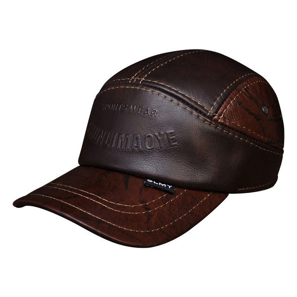 Red Brown Leather Cap