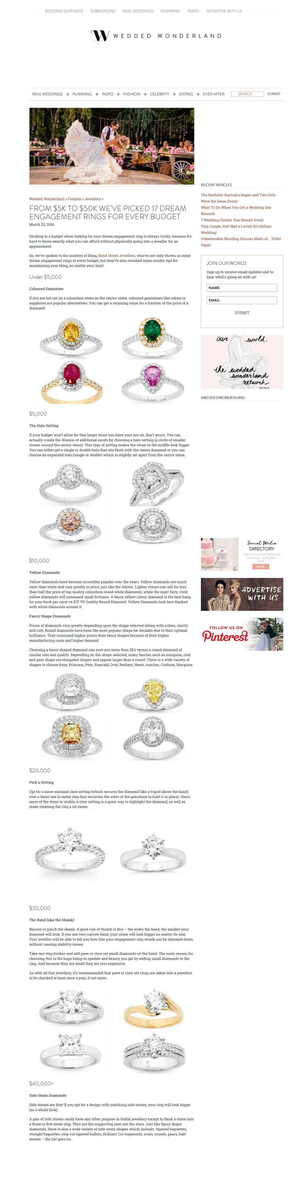 Bond Street Jewellers - News and Media - As seen in - Weddedwonderland