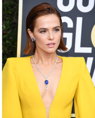 Zoey Deutch wears Harry Winston Ceylon Blue Sapphire and Diamond Pendant and Earrings at 2020 Golden Globes - Imagery 4