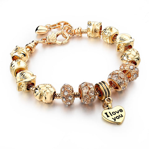 Women's Heart Charm Bracelet  Bangles With Crystal Beads