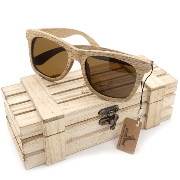 New Polarized Men's Brand Mirror Eyewear Wooden Sunglasses