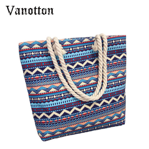 Summer Fashion Patterned Canvas Beach Bags