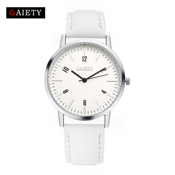 Top Brand Fashion Design Silver Dial PU Leather Quartz Watch for Women