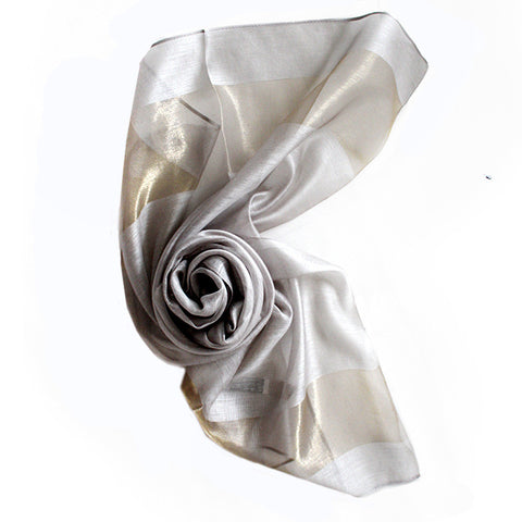 New Silk Women Scarves 12Colors Fashion Black Stitching Gold Silk
