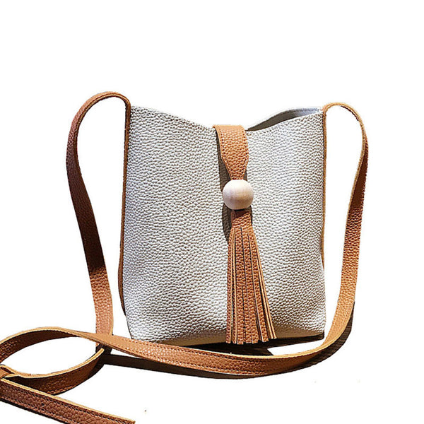 Small Mini Bucket Crossbody Handbag & Tassel