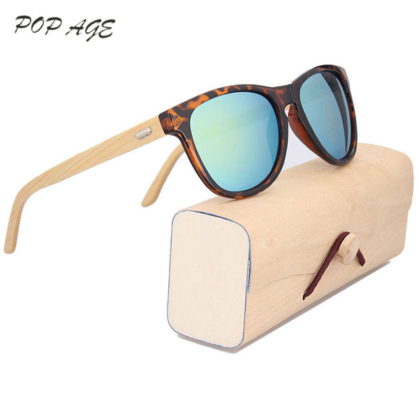 Heart Multi Color Tortoise Frame Wooden Bamboo Sunglasses