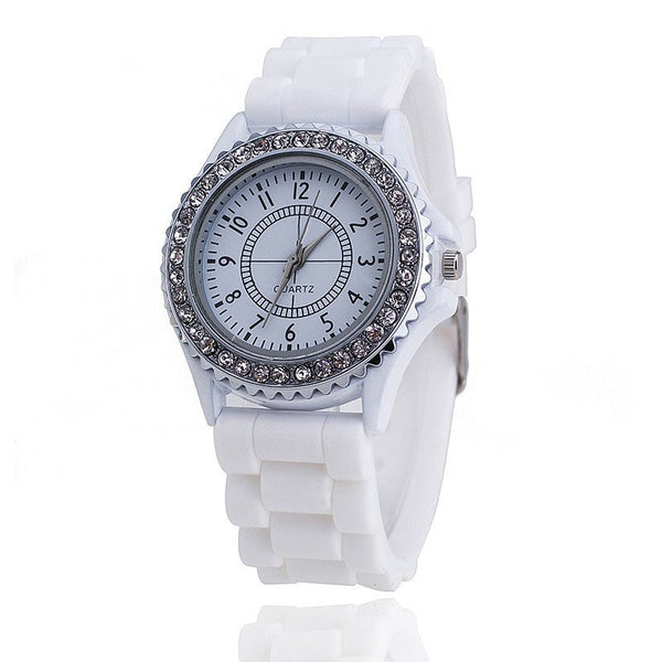 Casual Silicone Rhinestone Quartz Sports Watches
